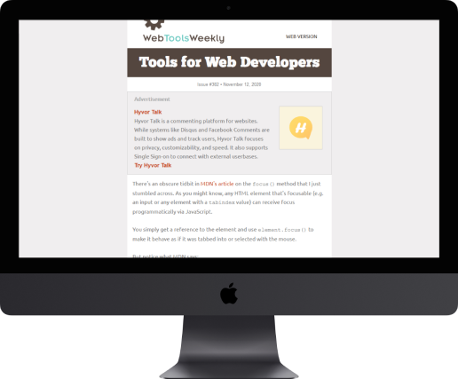 Web Tools Weekly on iMac