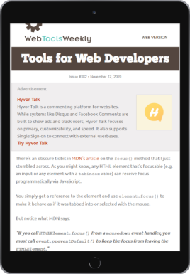 Web Tools Weekly on iPad